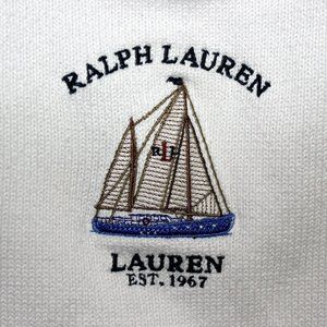 2X Vintage RALPH LAUREN white nautical sweater